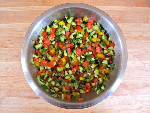 Israeli Salad With Feta and Mint - Vegetarian Recipe