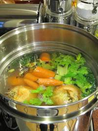 "This chicken stock is from my ""Shiksa Matzo Ball Soup"" recipe."