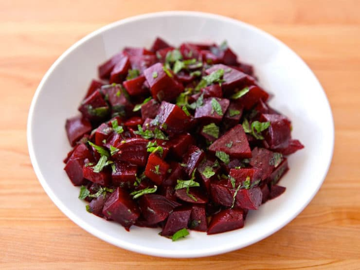 Roasted Beet Salad with Mint - Salad made with roasted beets, balsamic vinegar, olive oil, cumin, sugar, salt and fresh chopped mint. Healthy, vegan, gluten free, kosher.