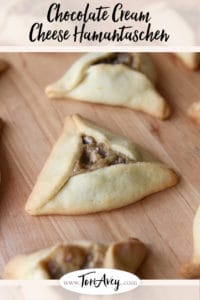 Pinterest pin for Chocolate Cream Cheese Hamantaschen on ToriAvey.com