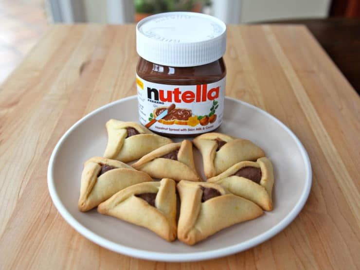 Nutella Filling for Hamantaschen - Use Nutella as a simple hamantaschen filling for Purim, straight from the jar. The easiest filling for hamantaschen, always a hit! Kosher, Dairy.