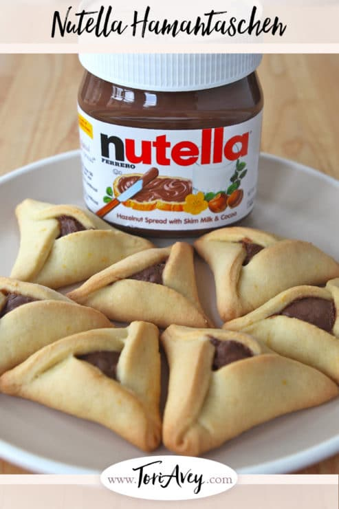 Pinterest pin for Nutella Hamantaschen on ToriAvey.com