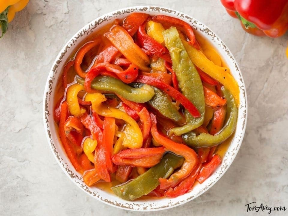 Roasted Pepper Salad - Colorful Side Dish Recipe with Roasted Bell Peppers, Garlic and Olive Oil