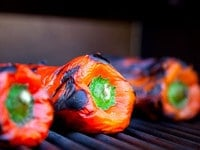 Roasted Bell Peppers on Grill