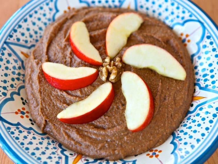 Ashkephardic Charoset - Charoset pureed with dates, apples, walnuts, raisins, banana, sweet wine, cinnamon. Blending of Ashkenazi, Sephardic traditions. Kosher, Pesach