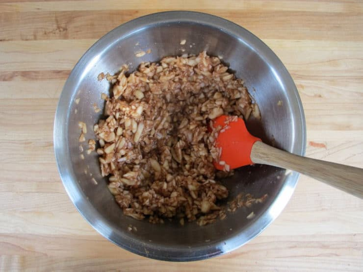 Spices and honey stirred into minced apples.