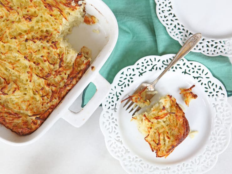 Passover Potato Kugel - Traditional Jewish Kugel with Potatoes, Onions and Eggs for the Passover Holiday.