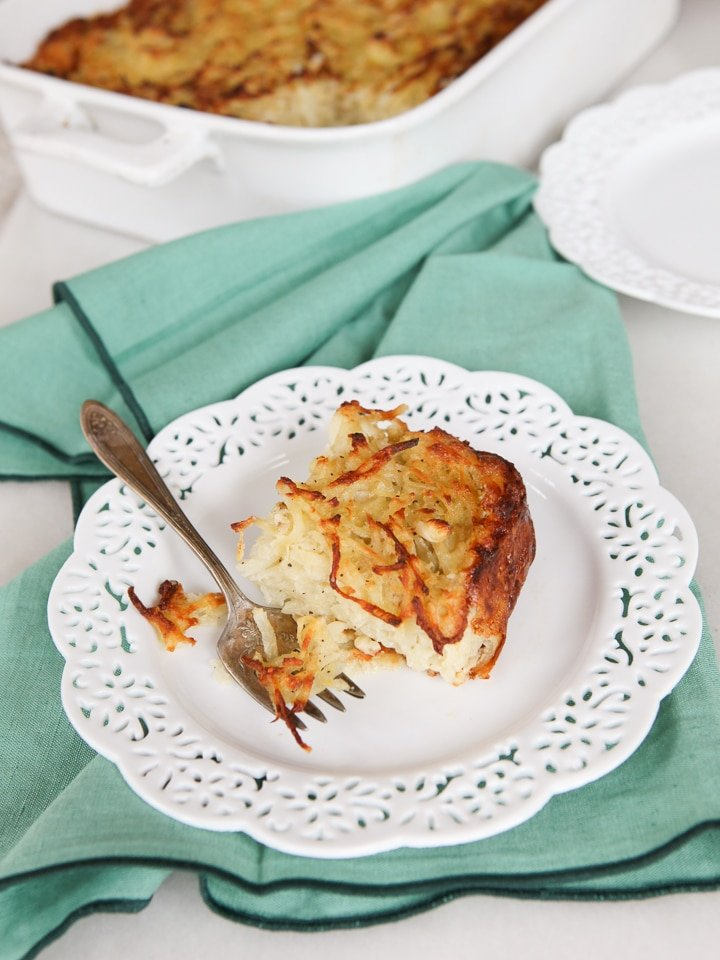 Passover Potato Kugel - Easy, delicious recipe for potato kugel. Crispy and golden on the outside, fluffy on the inside. Kosher for Passover.