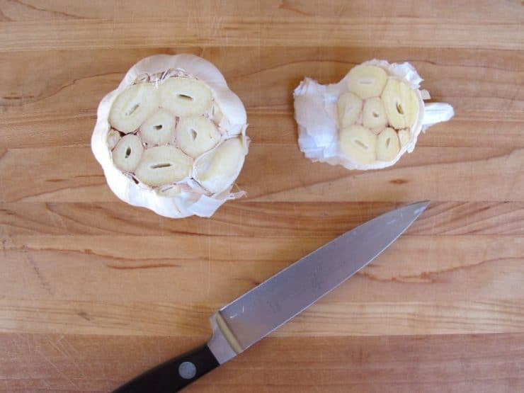 Head of garlic ready to roast.