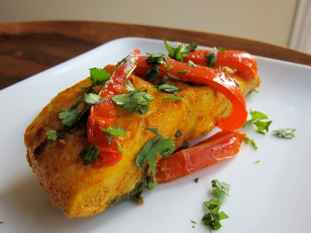 Maman's Moroccan Fish - Healthy, tasty, and authentic recipe for Moroccan Paprika Fish. Paprika, olive oil, garlic, cilantro, and peppers. Kosher, pareve.