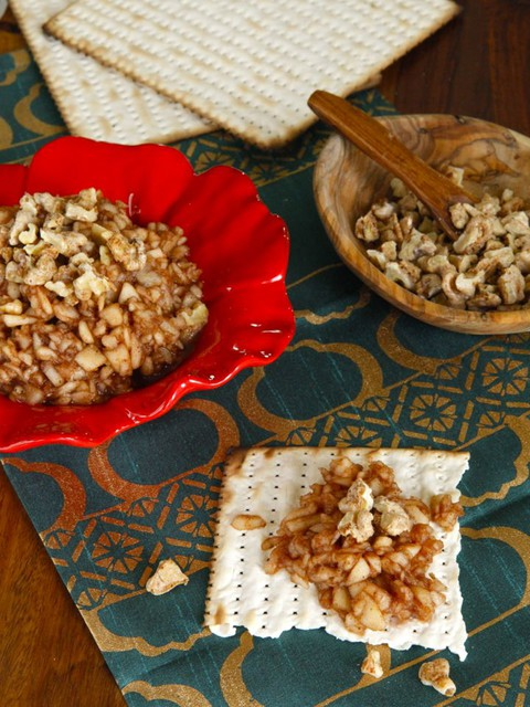 Apple Cinnamon Charoset with Cayenne Candied Walnuts - Traditional Passover Recipe with a Twist