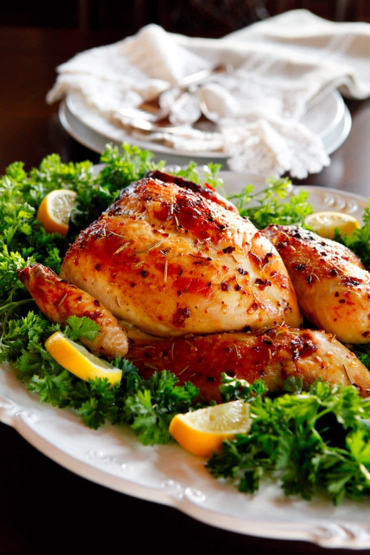Farah's Roast Chicken - Flavorful, juicy roast chicken recipe with garlic, honey, lemon and chili flakes from my friend Farah - easy and delicious.