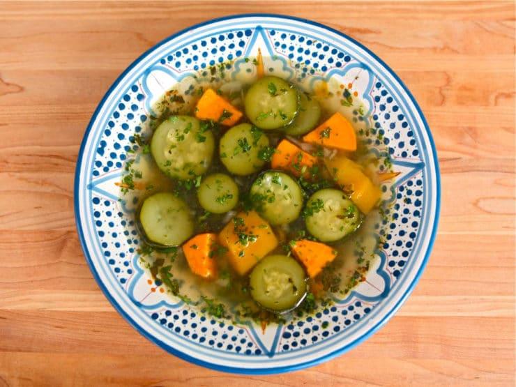 Mami's Sopita - Delicious Moroccan soup, a vegan gluten free alternative to matzo ball soup. Zucchini, butternut squash, yams, sage, thyme. Kosher for Passover.