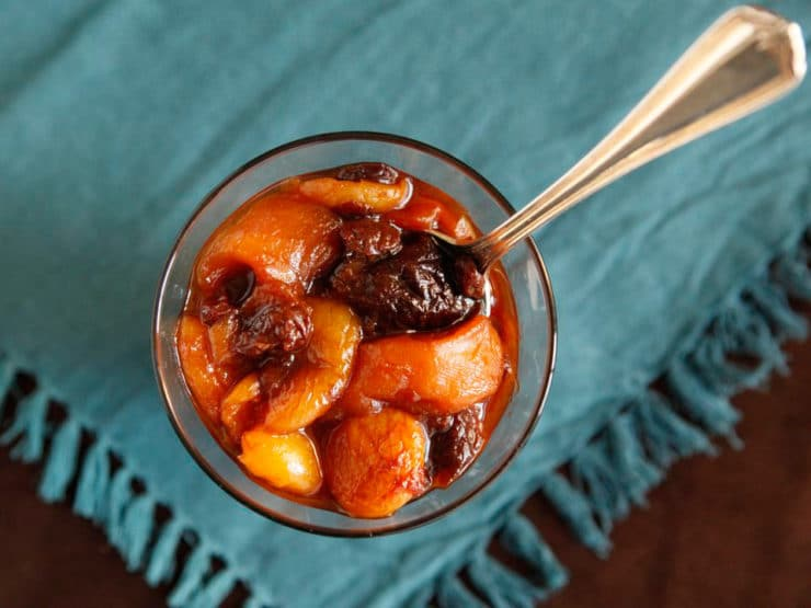 Marak Perot - Simple Eastern European Jewish dessert recipe for Marak Perot, also known as Compote or Fruit Soup, with apricots, dried plums and lemon juice.