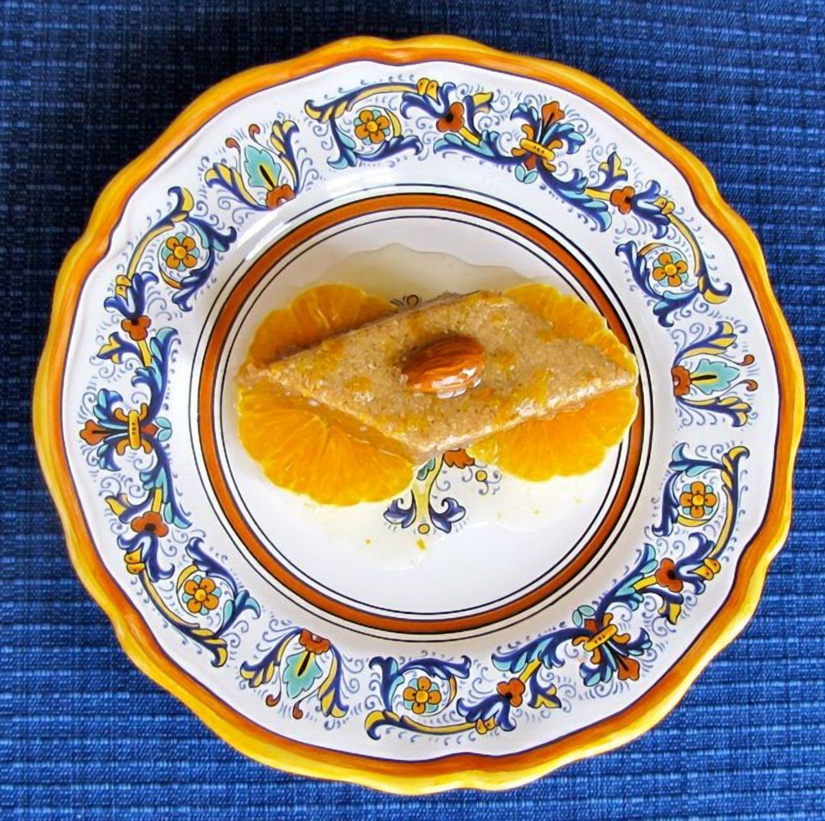 Tishpishti - Kosher for Passover cake soaked in sweet orange blossom syrup. Exotic Turkish recipe.
