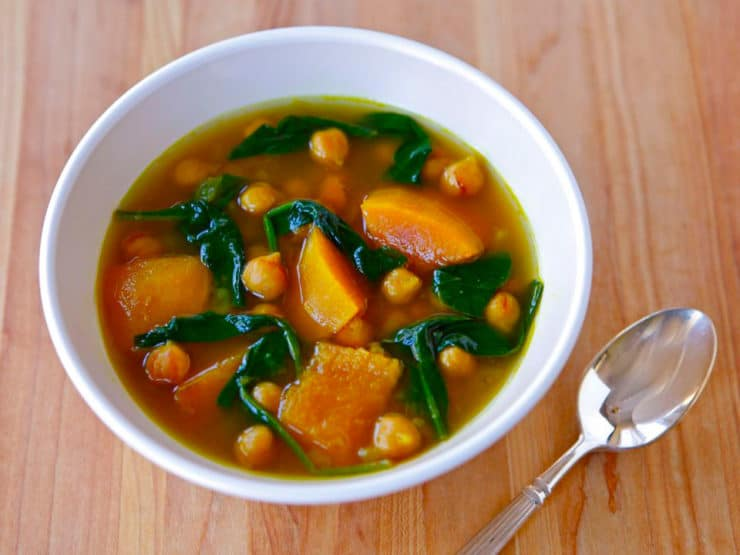 Vegan Butternut Squash and Chickpea Soup - Low fat, low calorie soup with butternut squash, chickpeas, spinach, turmeric, cumin, cinnamon and cayenne. Kosher, Middle Eastern, Pareve