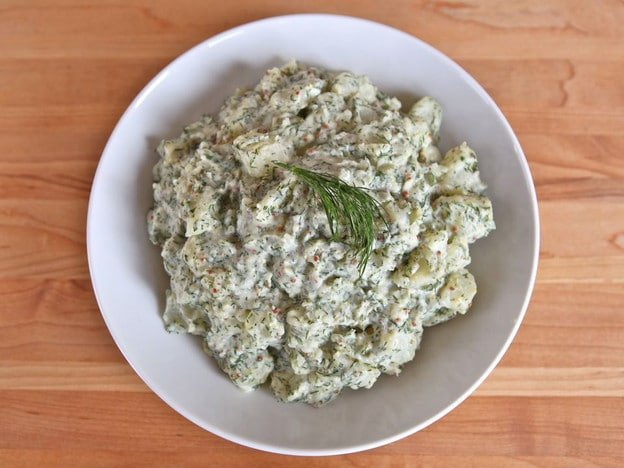 Potato Salad with Dill and Dijon - Easy Tasty Salad Recipe with Greek Yogurt and Whole Grain Dijon on ToriAvey.com