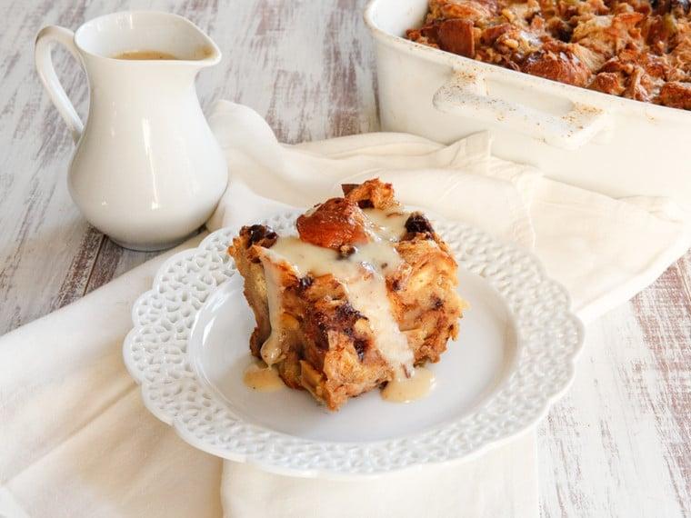 Challah Bread Pudding with Kahlua Cream Sauce