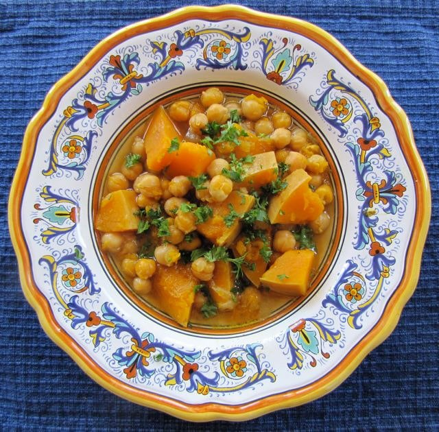 Butternut Squash Soup with Chickpeas - Healthy and savory soup with butternut squash, chickpeas, spices and a savory marrow bone broth. Sephardic family recipe. Kosher, Meat, Healthy.