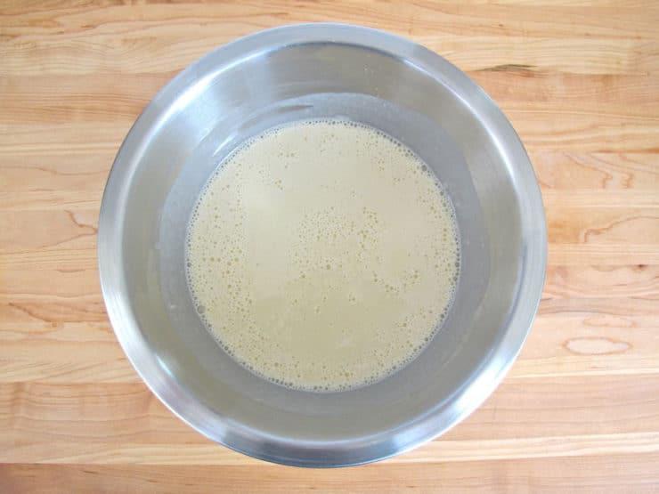 Blintz batter in a mixing bowl.