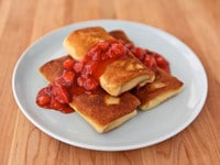 Blintzes with Strawberry Topping