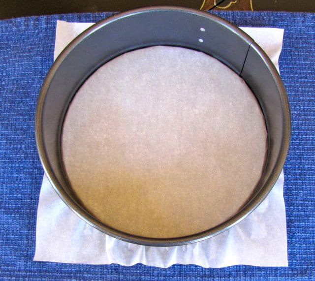 Springform pan with parchment paper