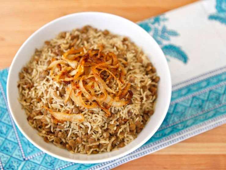 Mujadara - Learn to make mujadara in the traditional Indian style - fluffy white basmati rice, tender brown lentils, cumin & salt with caramelized onions.