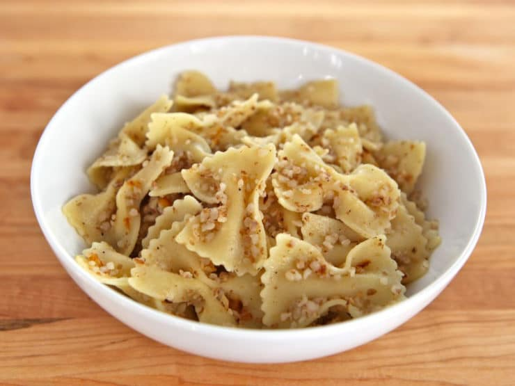 Kasha Varnishkes -Learn to make Jewish kasha and bows the way bubbe did- bow tie pasta, toasted kasha, caramelized onions and melty golden schmaltz. Kosher.