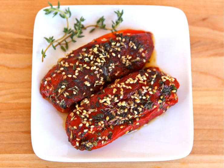 Stuffed Peppers with Goat Cheese - Roasted peppers stuffed with goat cheese, topped with sesame seeds and fresh herbs. Recipe, Kosher, Dairy, Healthy, Jewish.