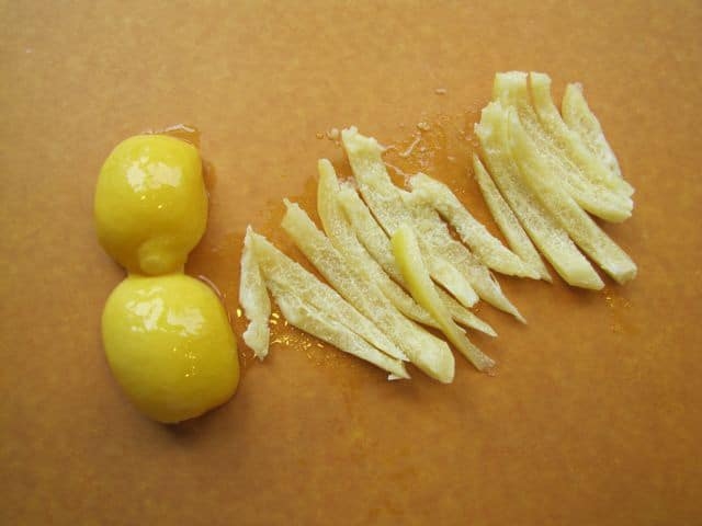 Preserved lemon peel cut in strips.
