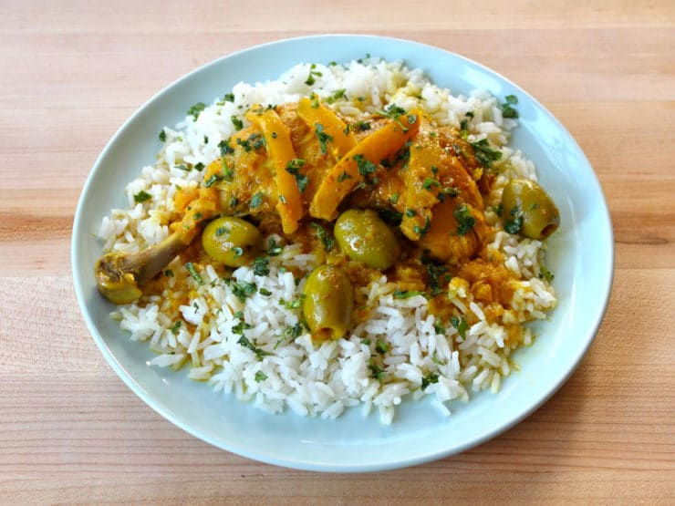 Moroccan Lemon Chicken Over Rice