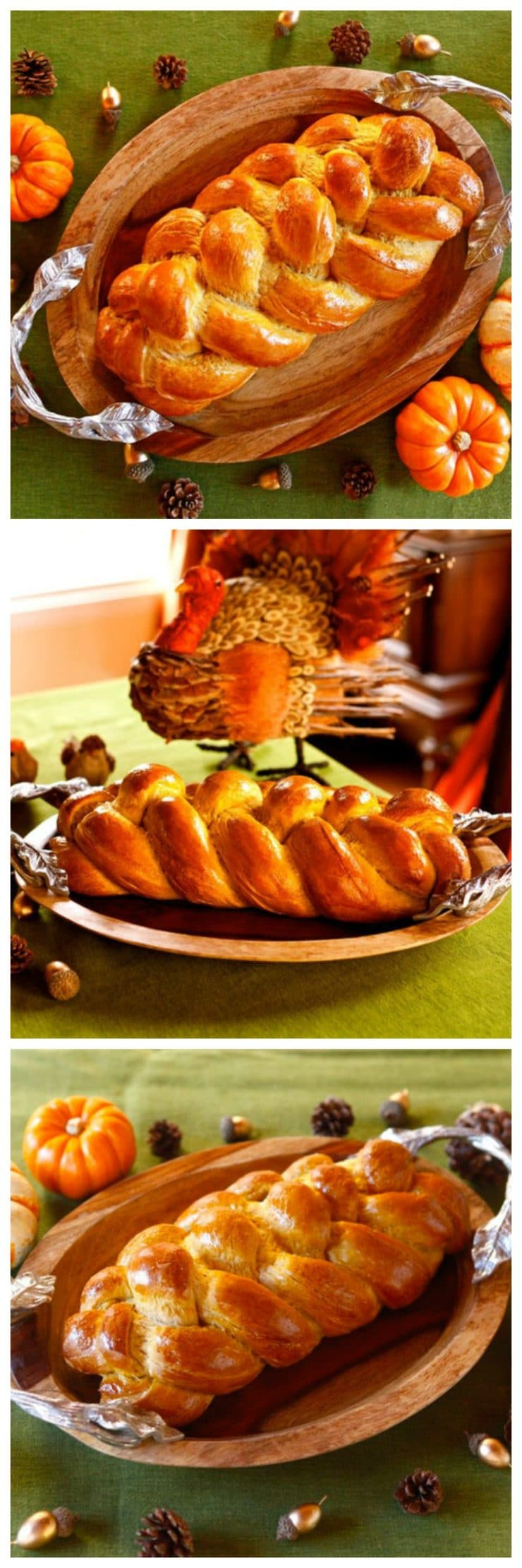 Pumpkin Challah - Combine two holiday traditions for one delicious, beautiful braided treat! Perfect centerpiece for an autumn holiday table. #Thanksgiving #Sukkot #Shabbat #challah