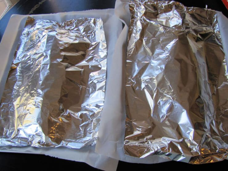 Challah covered with foil to keep from over browning.