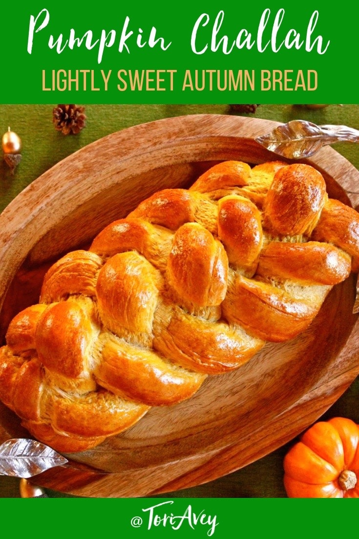 Pumpkin Challah - A mildly sweet, spice-scented challah. Beautifully braided bread. Perfect for Thanksgiving, Sukkot, or any autumn meal. #pumpkin #challah #bread #kosher #baking #thanksgiving #sukkot