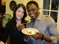 Me and Wayne Brady enjoying my Challah Bread Pudding