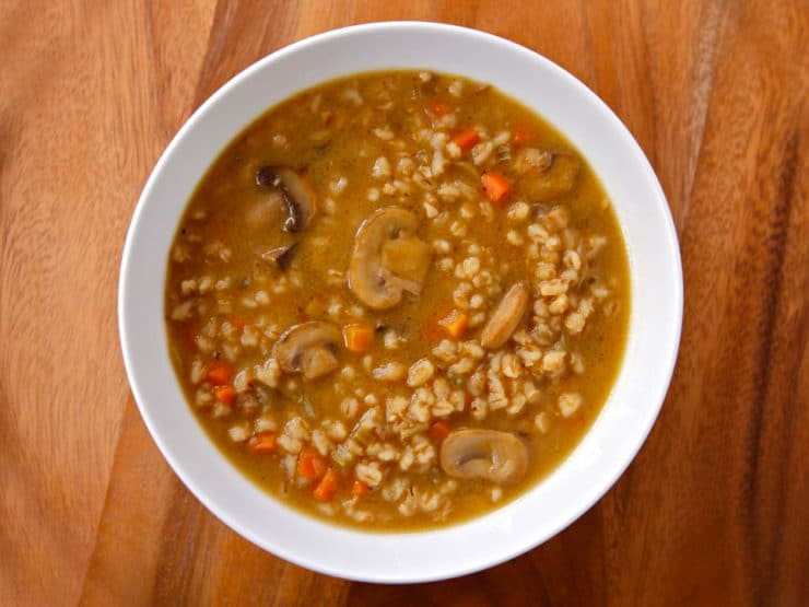 Mushroom Barley Soup - Robust and flavorful deli-style soup with chicken or vegetarian broth. Kosher, Jewish, healthy, comfort food, deli.