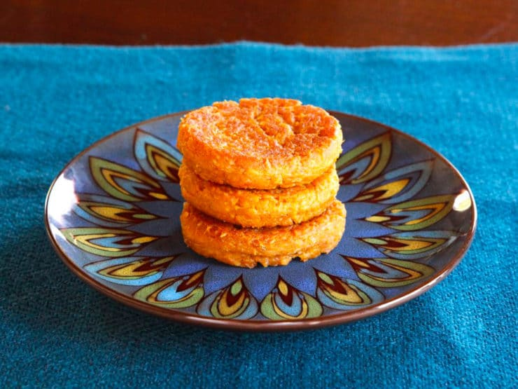 Sweet Potato Coconut Chremslach - Crisp and fluffy sweet potato pancakes with coconut, spiced with garam masala for a delish holiday treat. Hanukkah, Thanksgiving, Thanksgivukah.