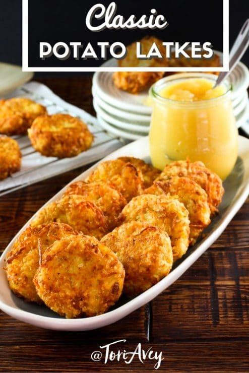 Classic Potato Latkes Pinterest Pin on ToriAvey.com