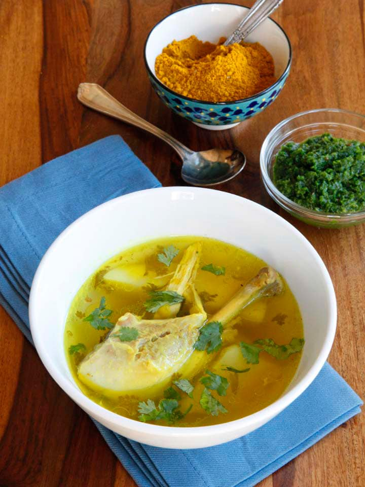 Yemenite Soup - Learn to make Yemenite Soup with chicken, beef or lamb and potatoes, spiced with traditional Yemenite hawayej spice blend. Healthy, hearty, comfort food.