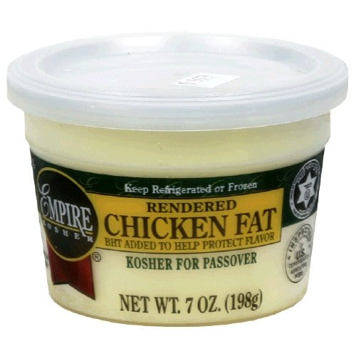 Kosher rendered chicken fat - schmaltz.