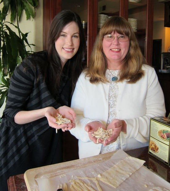 Tori Avey and her mother making homemade chicken and noodles together.