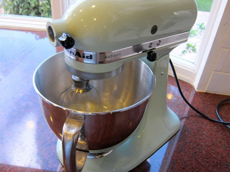 Cookie dough batter in the stand mixer.