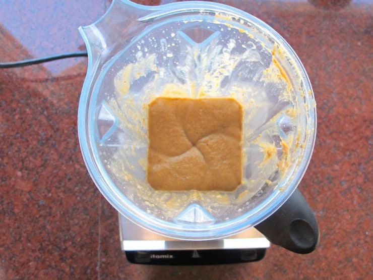 Wet muffin ingredients in a blender.