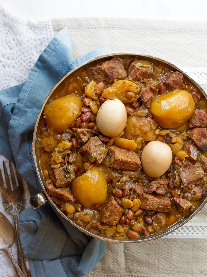 Cholent - Slow-cooked stew for Shabbat, also known as Chamin, Dafina, and Skhina. Easy Delicious Recipe on ToriAvey.com
