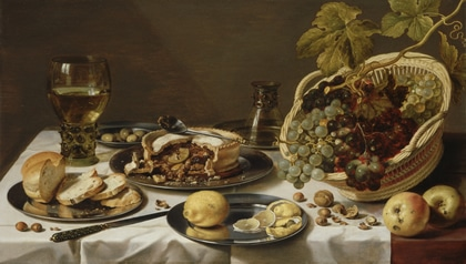 Claesz,_Pieter_-_Tabletop_Still_Life_with_Mince_Pie_and_Basket_of_Grapes_-_1625