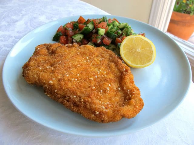 Traditional chicken schnitzel.