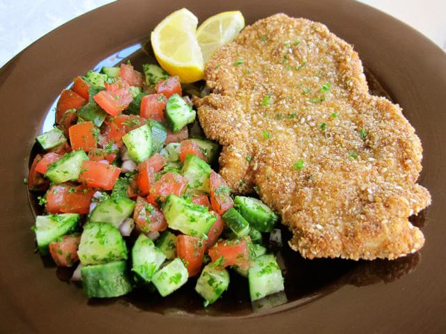 Gluten Free Chicken Schnitzel - Learn to make Gluten Free Chicken Schnitzel with this easy, GF, low carb recipe for crispy fried and seasoned chicken breasts. Kosher, meat.