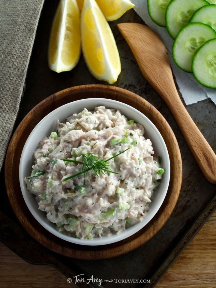 "Whitefish Salad - The history of smoked fish, ""appetizing"" and a recipe for Jewish whitefish salad with celery and herbs. Kosher, dairy or pareve."