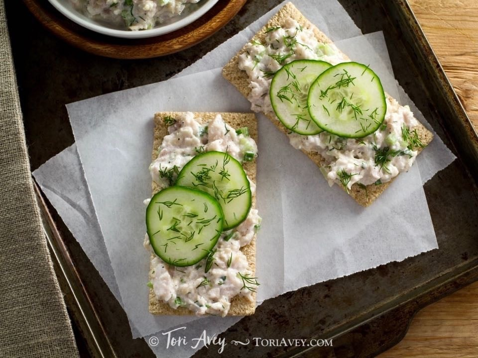 """Whitefish Salad - The history of smoked fish, """"appetizing"""", and a recipe for Jewish whitefish salad with celery and herbs. Kosher, dairy or pareve."""