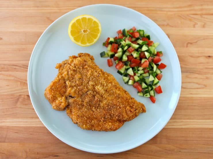 Passover Chicken Schnitzel - Recipe for crispy golden fried Chicken Schnitzel chicken breasts using matzo meal and seasonings. KFP, Kosher for Passover/Pesach, meat.